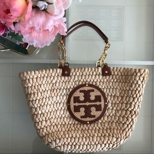 Tory Burch 'Audrey' Straw Tote with Chain Straps